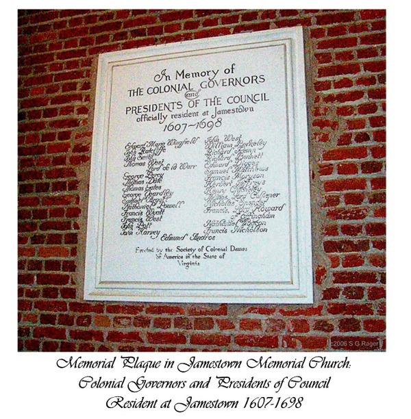 Jamestown Governor's Plaque