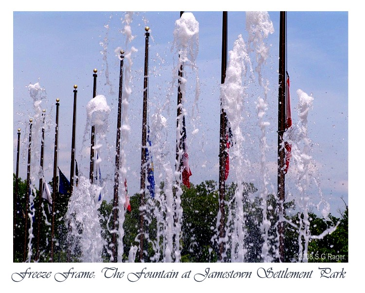 Freeze frame photo of the fountain at Jamestown Settlement Park