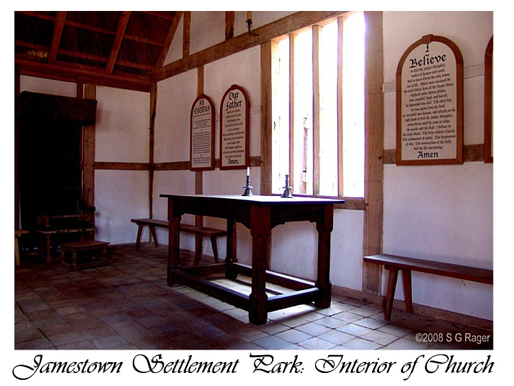 Chancel area of the Replica Church at Jamestown Settlement Park